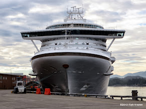 """Photo: This is the Grand Princess, a class-mate and sister ship of Golden Princess.  However, during an extended drydock, her """"handlebar"""" was cut off and she doesn't have the """"shopping cart"""" look anymore."""