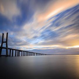 A dream by Abílio Neves - Buildings & Architecture Bridges & Suspended Structures ( clouds, water, sky, sunrise, bridge )