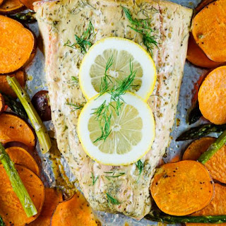 One Pan Roasted Salmon, Sweet Potatoes, and Asparagus