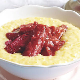 Creamy Tapioca with Poached Rhubarb.