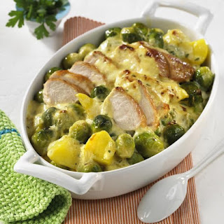 Potato, Brussels Sprout and Chicken Casserole.
