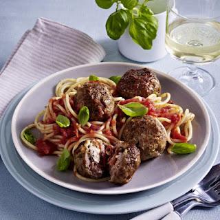 Spaghetti with Ricotta-Stuffed Meatballs