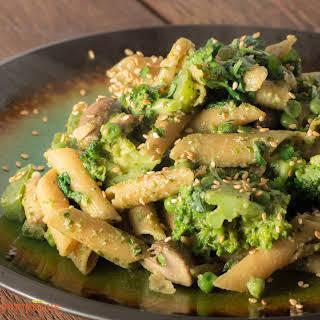 Broccoli Mushroom Pasta with Basil Pecan Pesto.