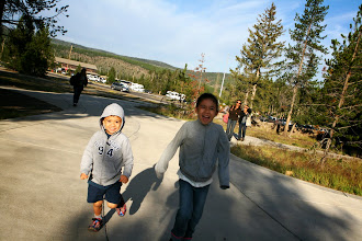 Photo: We got to Old Faithful at 7:50am, before the crowds. We woke up very early in Cody and pretty much drove direct.