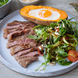 Steak With Sweet Potato Baked Egg, Balsamic Glaze & Asparagus
