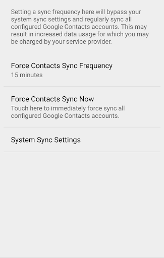 Force Contacts Sync
