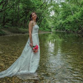 Bride in Stream by Carter Keith - People Fashion ( fashion, woman, dress, wedding dress, bride,  )
