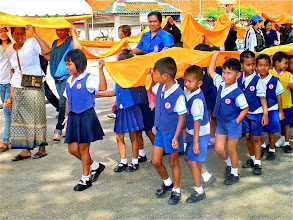 Photo: the school children begin their procession