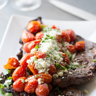 Grilled Steak with Roasted Tomatoes and Blue Cheese