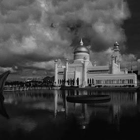 Sultan Omar Ali Saiffuddien Mosque by Muhammad Muqri - Landscapes Travel ( pwcbwlandscapes )