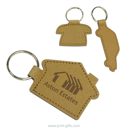 Leather Keyrings in Assorted Shapes - phone, car, house