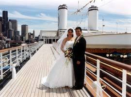 A bride and groom on a Holland America sailing.