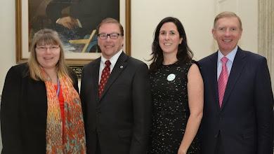 Photo: Chief of Staff for Senator Ross Maryanne Jefferson, Senator Richard Ross, BBA Director of Government Relations Kathleen Joyce, and BBA President Paul Dacier.