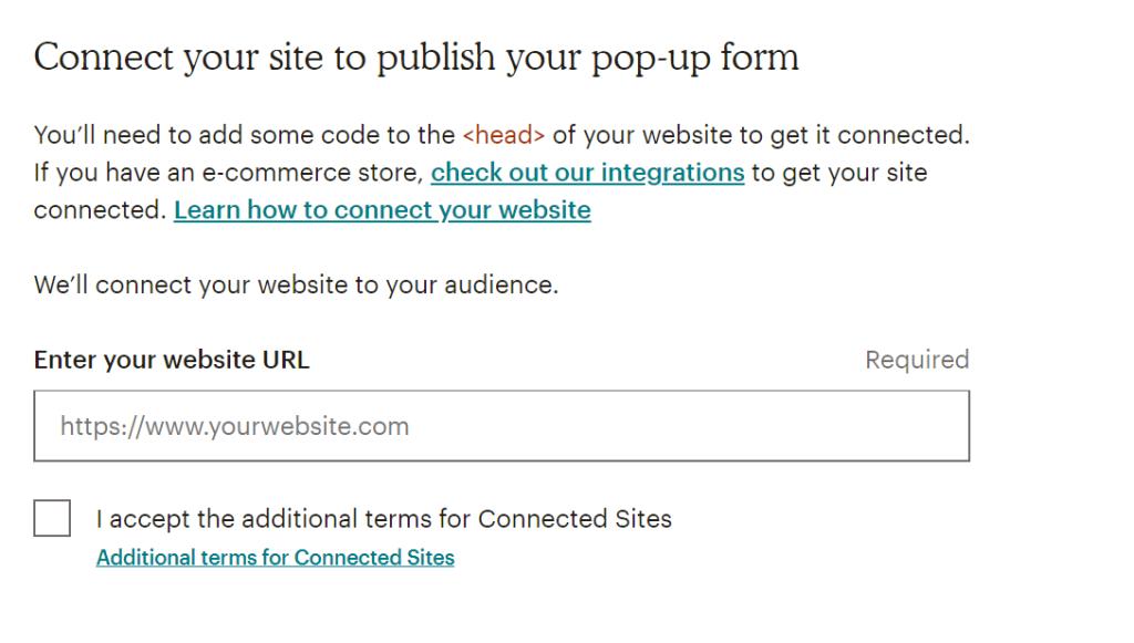 Mailchimp connect site screen