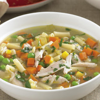 Chicken, Vegetable and Macaroni Soup.