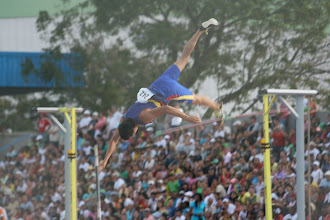 Photo: The progression of a pole vault: Free falling