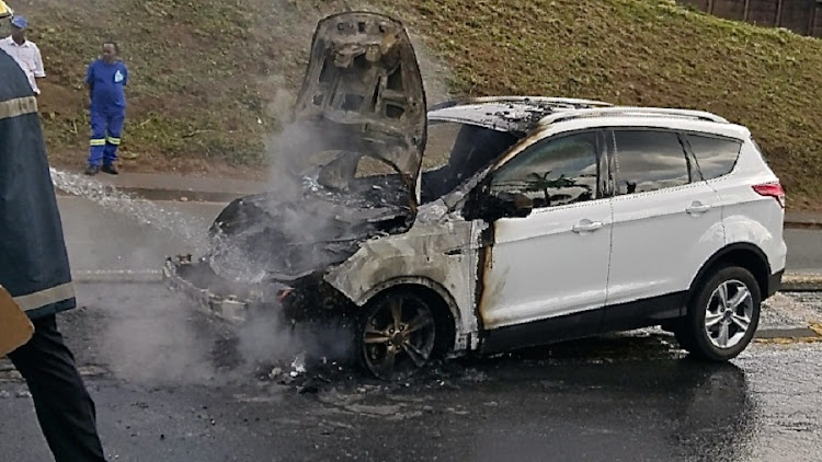 Burnt out Ford Kuga. Picture: NIVESH SEWPERSADH
