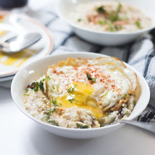 Garlicky Oats with Masala Fried Egg