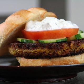 Falafel Burgers with Tahini and Tzatziki
