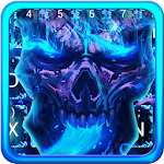 Blue Flaming Skull Keyboard Icon