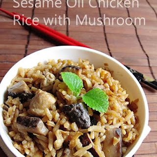 Sesame Oil Chicken Rice with Mushroom 麻油香菇鸡饭 Recipe