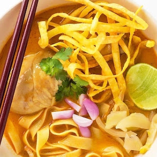 Easy Khao Soi - Thai Coconut Curry Soup with Egg Noodles.