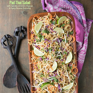 Pad Thai Salad with Spiralized Green Papaya and Spicy Peanut Dressing
