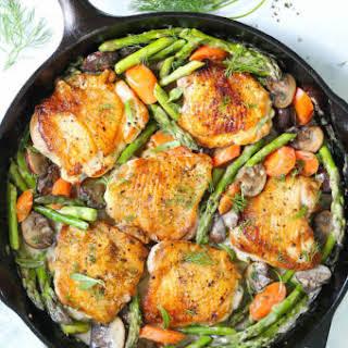 Skillet Chicken with Creamy Spring Vegetables.