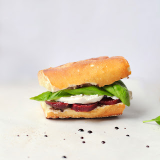 Fresh Mozzarella, Beet, and Basil Sandwiches