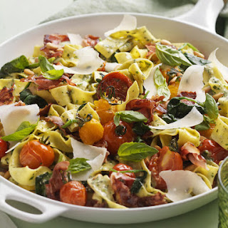 Roasted Tomato, Pancetta and Pesto Pappardelle