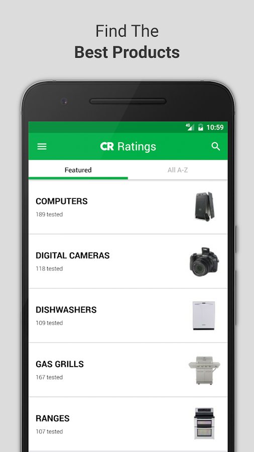 Ratings by Consumer Reports- screenshot