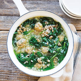 Turkey Meatball Soup with Spinach and Farro.
