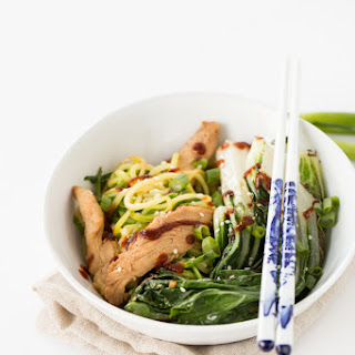 Sesame Chicken and Bok Choy Zucchini Noodle Bowl with Sriracha.