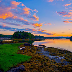 New Meadows River Sun Rise by Joe Fazio - Landscapes Sunsets & Sunrises ( maine, sunrise, sunset, beach, river,  )