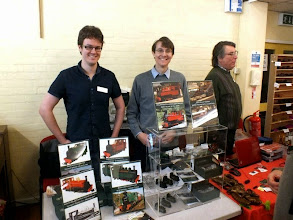Photo: 010 Dan and Dominic Wells with their Fourdees Models stand, showing a very tempting foretaste of locomotive models being prepared for release in the near future .