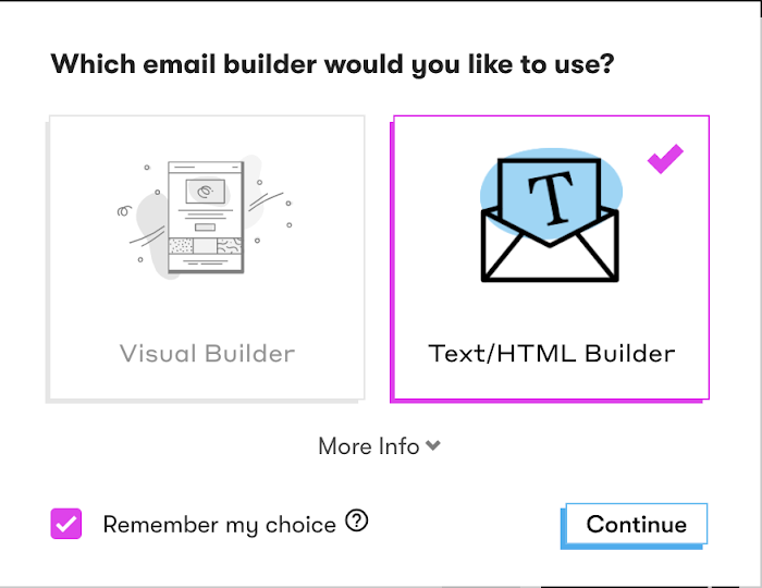 Select an email builder