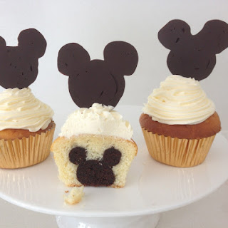 Mickey Mouse Cupcakes with Mickey inside