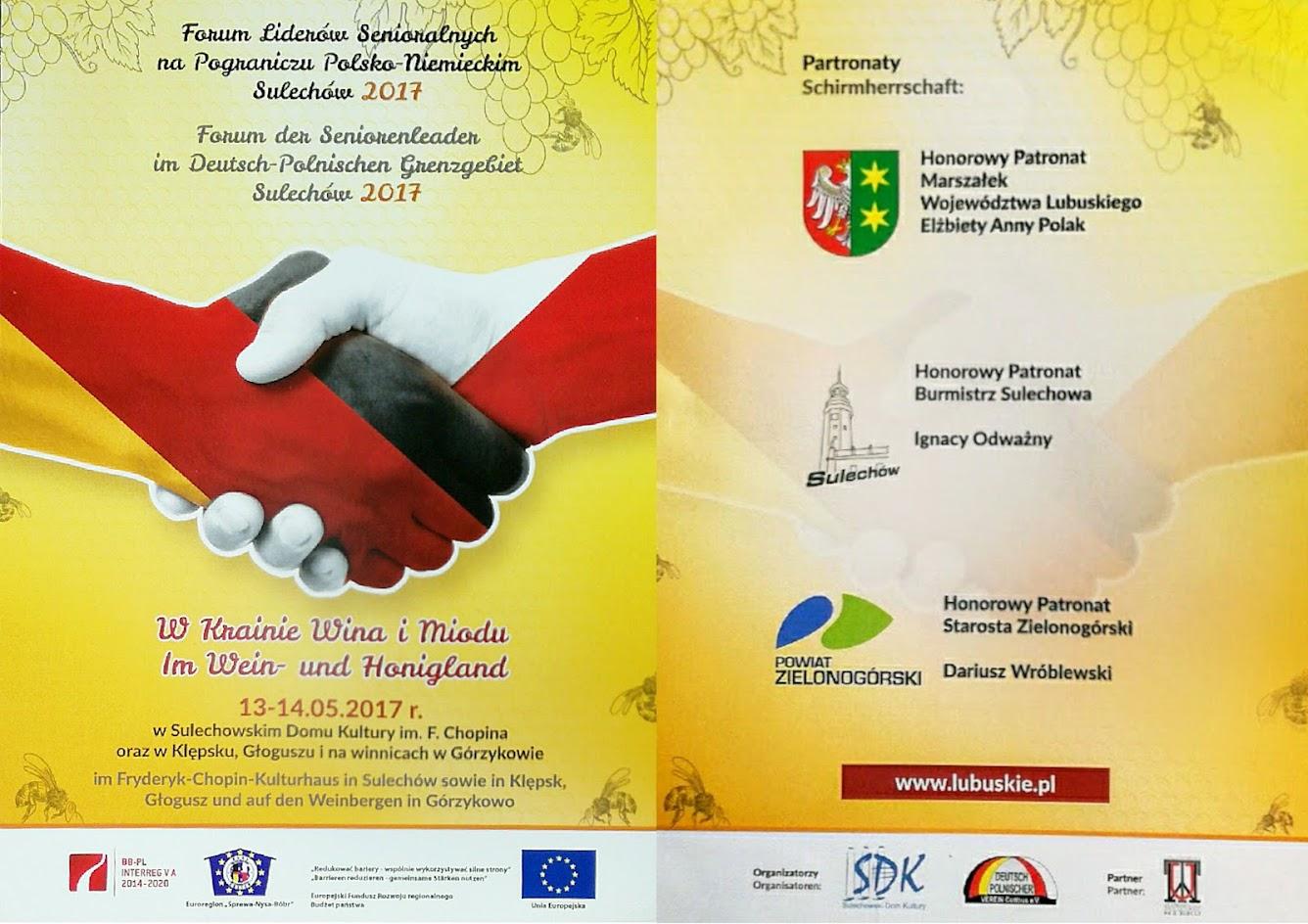 Forum Liderów Senioralnych na Pograniczu Polsko – Niemieckim Sulechów ҅ 2017