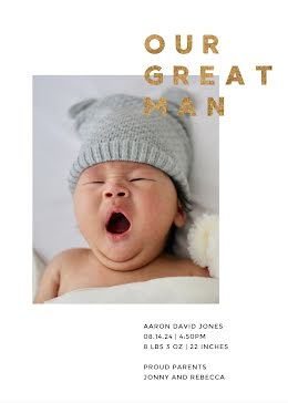 Our Great Man Aaron - New Baby Announcement item
