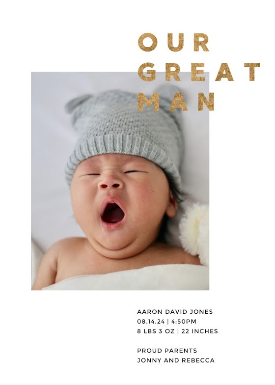 Our Great Man Aaron - New Baby Announcement Template