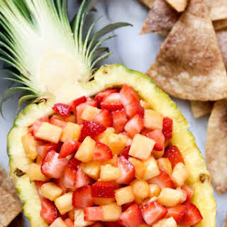 Strawberry Pineapple Fruit Salsa with Cinnamon Tortilla Chips.