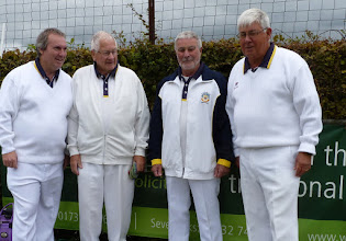 Photo: Men's Pairs- Jon Broomfield & Brian Streeter against Colin Francis & Bob King look serious before the match.