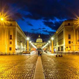 by David Marjanovic - Uncategorized All Uncategorized ( lights, rome, blue hour )
