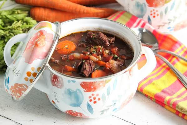 A Bowl Of Hearty Herb And Cabernet Beef Stew.