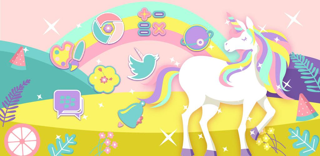 Cute Rainbow Unicorn Theme Pink Wallpaper Icon 111 Apk Download