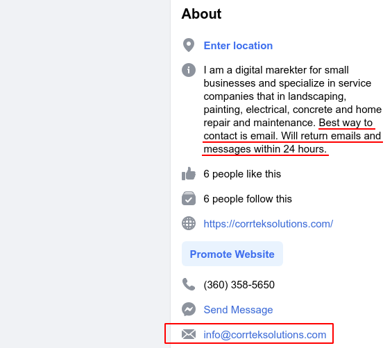 "Screenshot of the About section on Facebook. Underlined text in the description block saying, ""Best way to contact is email. Will return emails and messages within 24 hours."" Red box around my email address."