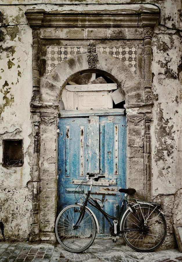 Blue door with bicycle, Morocco by Darren Wheatley - Buildings & Architecture Other Exteriors ( blue door with bicycle, morocco. )
