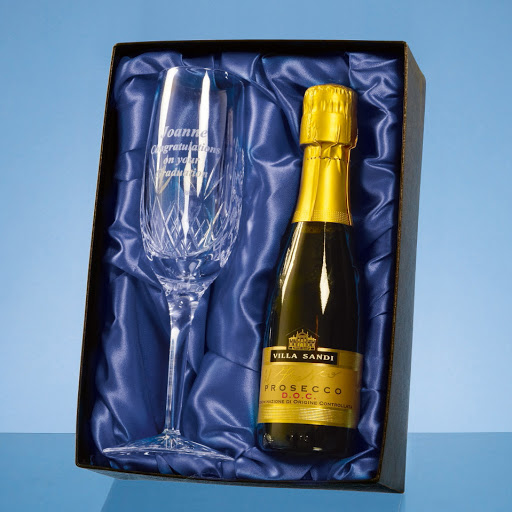 Engraved Crystal Champagne Flute & Bottle Set