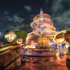 Spinning ride by Jerome Obille - City,  Street & Park  Amusement Parks ( lights, themepark, rotating, hdr, spinning, amusement, rotation, lighttrail, parks, lightpainting, motion, longexposure )