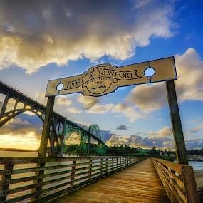 Port of Newport Dock by Zach Blackwood - Buildings & Architecture Bridges & Suspended Structures ( port, water, oregon, bay, sunset, or, yaquina bay, newport, bridge, rocks, coast )